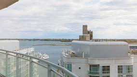 View of lake Ontario from an condo balcony. Dolly shot stock video