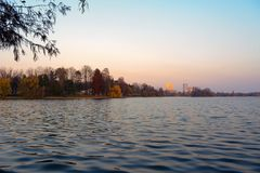 Herastrau. The view of the lake from the park Herastrau, in Bucharest, Romania Stock Images