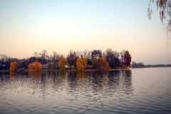 Herastrau. The view of the lake from the park Herastrau, in Bucharest, Romania Royalty Free Stock Photography