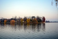 Herastrau. The view of the lake from the park Herastrau, in Bucharest, Romania Stock Photos