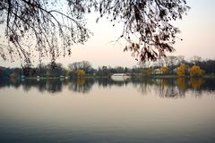Herastrau. The view of the lake from the park Herastrau, in Bucharest, Romania Stock Photography