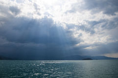 View of the lake. Pass through the clouds the sun's rays Stock Photography
