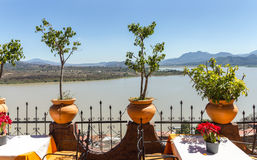 View of Lake Patzcuaro. The view of Lake Patzcuaro, Mexico from the balcony of a restaurant in Janitzio royalty free stock photo