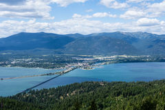 View of Lake Pend Oreille and the town of Sandpoint, Idaho Royalty Free Stock Photography
