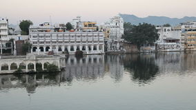 View at the Lake Pichola in Udaipur. Rajasthan State, India stock video