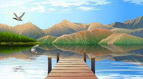 View of the lake and pier Royalty Free Stock Photo