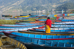 View of the lake in Pokhara Royalty Free Stock Photos