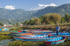 View of the lake in Pokhara Stock Photography