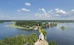 View of the Lake Seliger from the bell tower of the church. Royalty Free Stock Photography