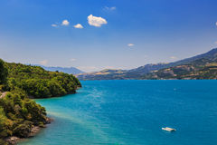 View of lake Serre-Poncon Royalty Free Stock Photo