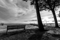 View of a lake with sitting bench, trees and shadows Stock Photo