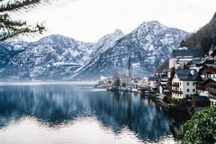 View of Lake and Snowy Mountains royalty free stock image