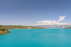 View of the lake St. Croix in France. With its crystal clear water stock photo