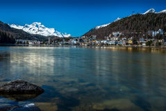 View of the lake of St. Moritz in Engadin Stock Photography