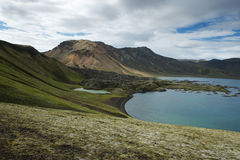 View of the lake surrounded by green hills in Landmannalaugar, I Royalty Free Stock Photo