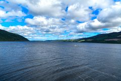 View the lake and the surrounding Loch Ness mountains in Scotland, look for Nessie royalty free stock images