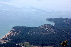 View of Lake Tahoe, buildings and shoreline from upper deck of Heavenly Gondola Stock Photo