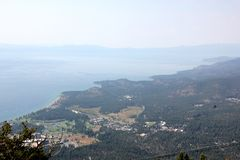 View of Lake Tahoe, buildings and shoreline from upper deck of Heavenly Gondola Stock Photography