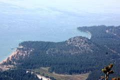 View of Lake Tahoe, buildings and shoreline from upper deck of Heavenly Gondola Royalty Free Stock Photos