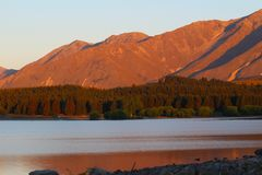 Lake Tekapo and Southern Alps at sunset, South Island, New Zealand royalty free stock photo
