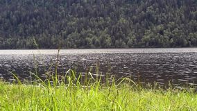 View of Lake Teletskoye in the Altai Republic. In the spring stock video footage