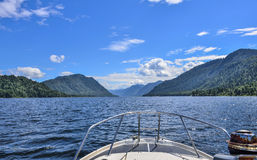 View of the lake Teletskoye from boat. Russia, Altai Republic Royalty Free Stock Photography