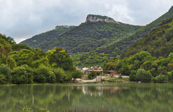 View from the lake to Mangup Kale mountain, Ukraine, Crimea Royalty Free Stock Photo