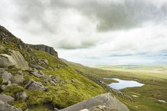 View of the lake from the top of Cuilcagh mountain.  royalty free stock photos
