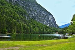 Austrian Alps-view on the lake Tristachersee. View on the lake Tristachersee in Austrian Alps royalty free stock image