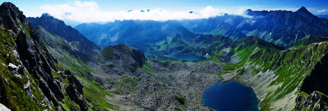View of the lake in the valley of the Big pond in Polish mountains, Tatras Stock Image