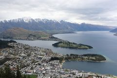 View of Lake Wakatipu, The Remarkables mountains and Queenstown New Zealand. Queenstown, South Island, New Zealand - September 23, 2017 - View of Lake Wakatipu Stock Images