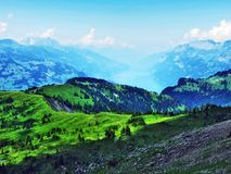 A view of Lake Walensee from the Alvier Mountain in the Appenzell Alps mountain range. Canton of St. Gallen, Switzerland royalty free stock photos