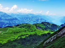 A view of Lake Walensee from the Alvier Mountain in the Appenzell Alps mountain range. Canton of St. Gallen, Switzerland stock photos
