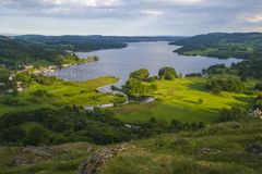View of Lake Windermere in the Lake District. A view of Lake Windermere from Loughrigg Fell in the Lake District, UK Stock Images