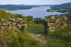 View of Lake Windermere in the Lake District. A view over Lake Windermere from Loughrigg Fell in the Lake District, UK Royalty Free Stock Photos