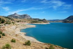 View of lake, Zahara de la Sierra, Spain. Royalty Free Stock Photos