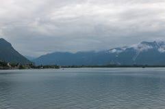 View on lake Zeneva and mountains, city Montreux, Switzerland, Europe. Summer landscape, sunshine weather, dramatic blue sky and sunny day stock photos
