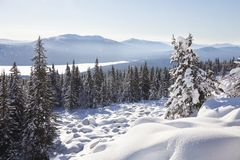 View of lake Zuratkul from Mountain range. Winter landscape. Stock Image