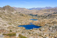 View of the lakes in the Lake Pessons, Andorra Royalty Free Stock Photo