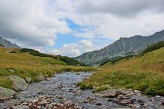 View of 5 lakes valley in High Tatras Stock Photos