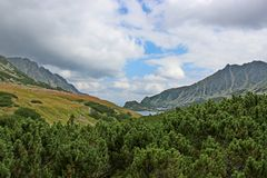 View of 5 lakes valley in High Tatras Royalty Free Stock Images