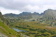 View of 5 lakes valley in High Tatras Royalty Free Stock Photos