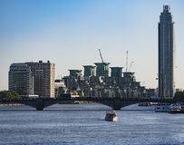 View from Lambeth Bridge. View from the Lambeth Bridge on The Tower and St. George Wharf Pier Stock Photos