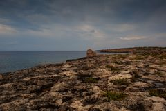 View of Lampedusa coast. Sicilian island in the middle of mediterranean sea royalty free stock image
