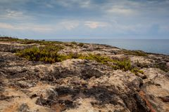 View of Lampedusa coast. Sicilian island in the middle of mediterranean sea royalty free stock images