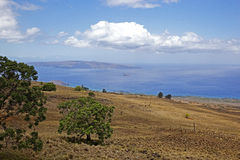 View of Lanai from Maui. View from the Kula Highway of Lanai and Mokokini Stock Photos