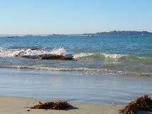 View of Lancieux Beach in Brittany, France stock photos