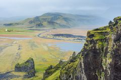 View at the land from Dyrholaey arch, Iceland Stock Photo