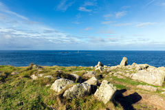 View from Land`s End Cornwall England UK including the Longships lighthouse and Cornish coast Stock Image