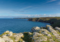 View from Land`s End England UK view towards Cape Cornwall and Sennen Cove Stock Image